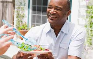 Man enjoying the Mediterranean diet