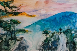 Mt Vision Sunrise, a watercolor by Vera Kovacovic