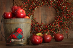 Apples in wood bucket for holiday baking